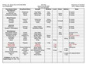 Sample Drugs List Layout