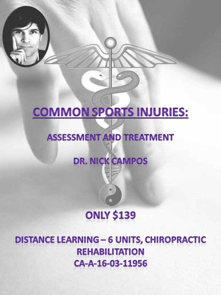 Common Sports Injuries: Assessment and Treatment (satisfies 6 General Subject hours)